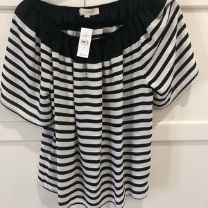 Black and white stripe off the shoulder top